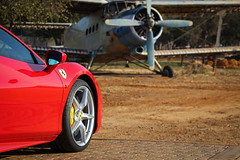 Ferrari 488 GTB with Old Aeroplane in the background