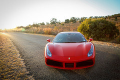 Ferrari 488 GTB front view at Sunrise