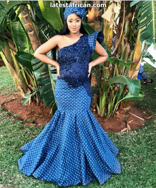 Shweshwe Mermaid Dress With Headwrap