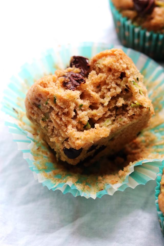 Whole Wheat Zucchini Chocolate Chip Muffins