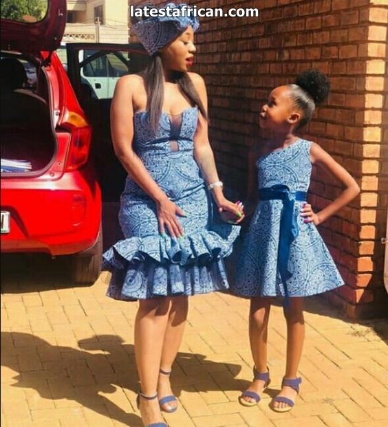 Mum and Kid In Beautiful Blue Shweshwe Dresses