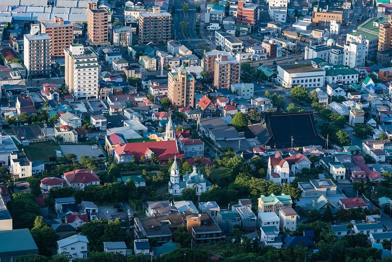 函館山展望台から中望遠レンズで撮影した函館の教会群