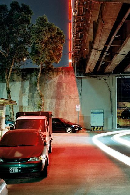 Night lights under bridge