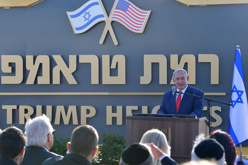 "Unveiling Ceremony of the sign for ""Trump Heights"" at the Golan Heights"