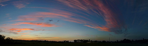 sunset blue red pink panorama clouds sky