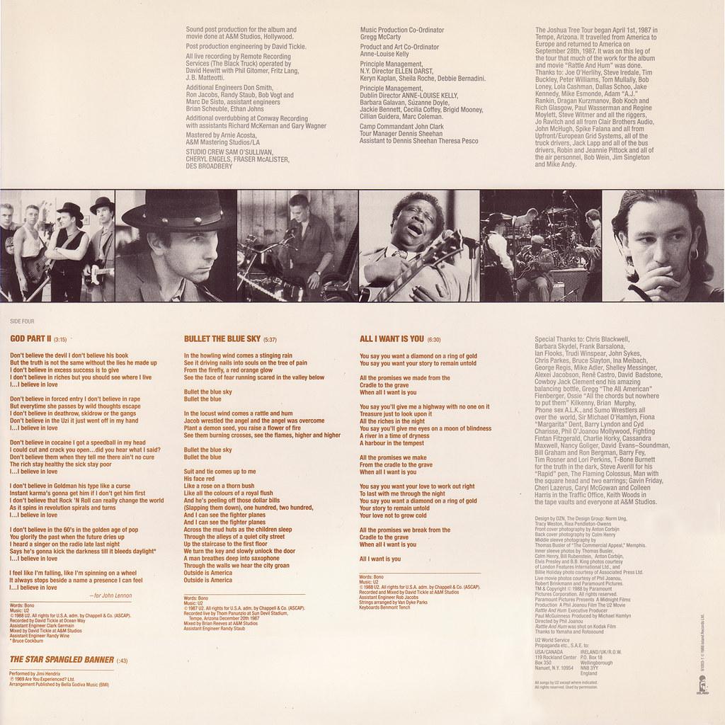U2 – Rattle And Hum Sleeve 2 Back