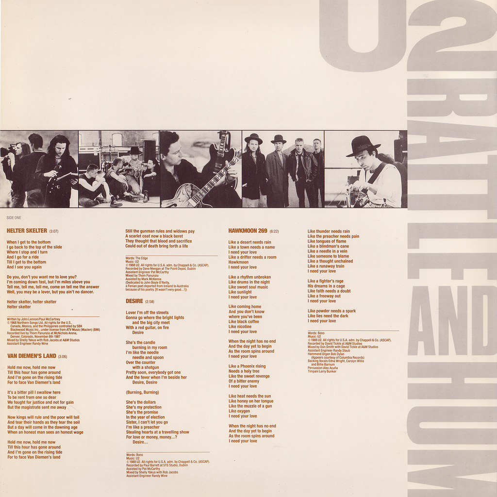 U2 – Rattle And Hum Sleeve 1 Front