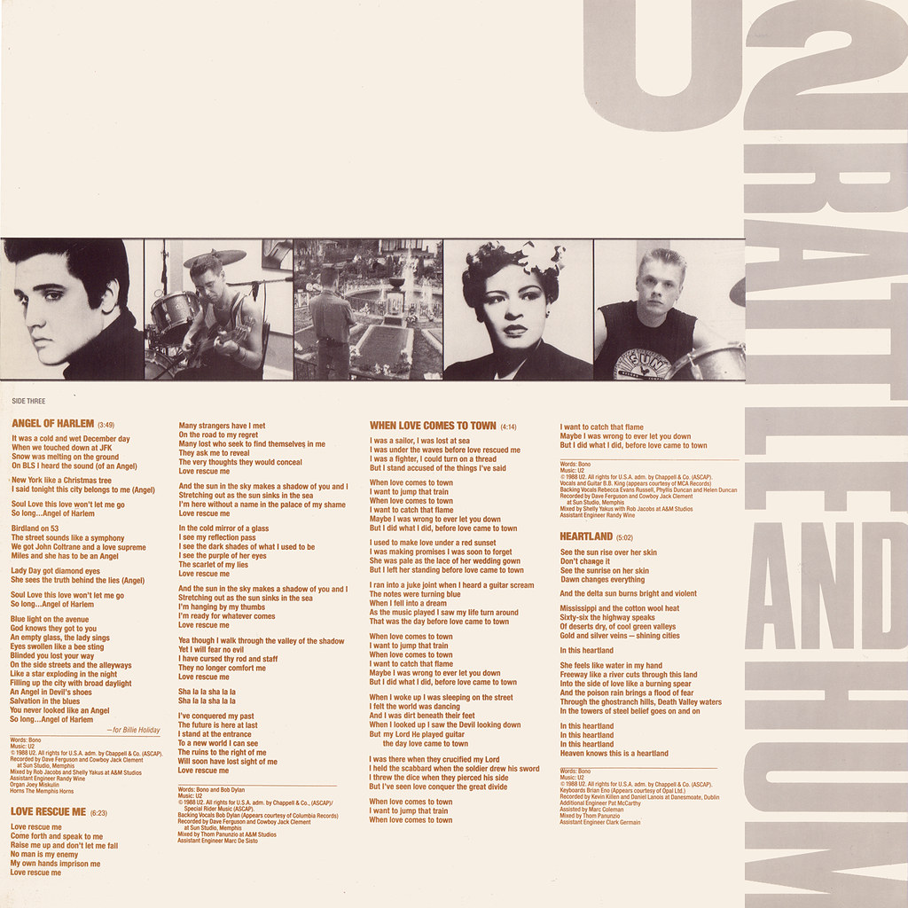 U2 – Rattle And Hum Sleeve 2 Front