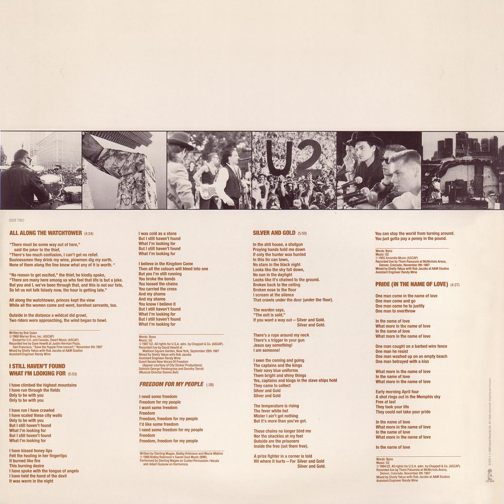 U2 – Rattle And Hum Sleeve 1 Back