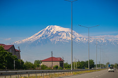 Mount Ararat view from the road out of Yerevan, Armenia