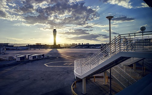 lasvegas nevada usa airport mccarraninternationalairport outdoor tarmac stairs tower airporttower sun sunset clouds cloudy sony a6000 selp1650 3xp raw photomatix hdr qualityhdr qualityhdrphotography fav100