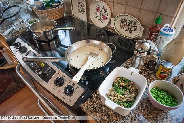 Cooking White wine cream sauce for Morel Ramp Linguine