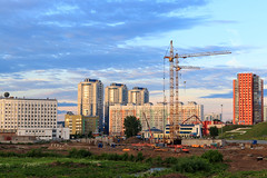 Construction cite in Kemerovo city in summer evening