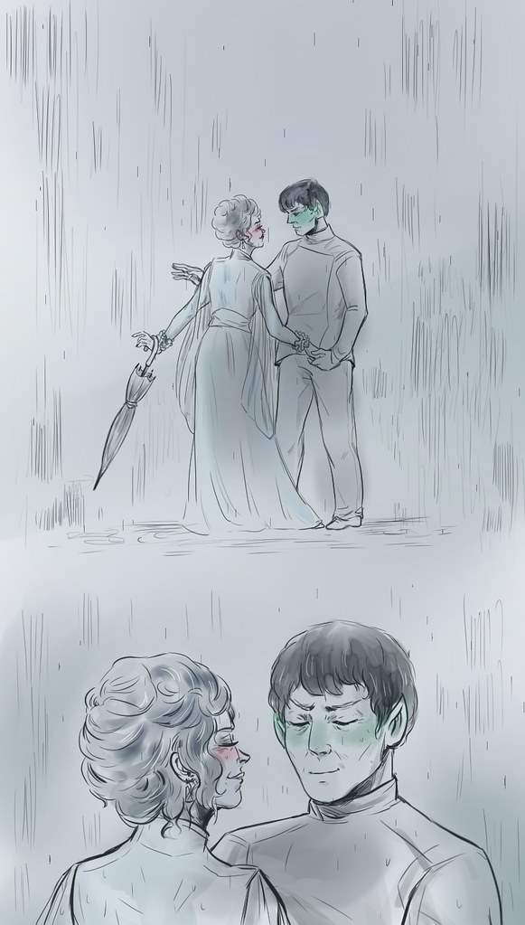 Sarek and Amanda in the rain