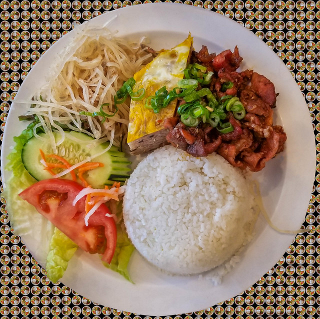 Vietnamese Broken Rice with grilled pork and meatloaf