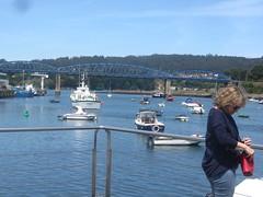 Puentedeume, harbour with railway bridge in distance.