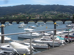 Puentedeume, harbour with old bridge in background.