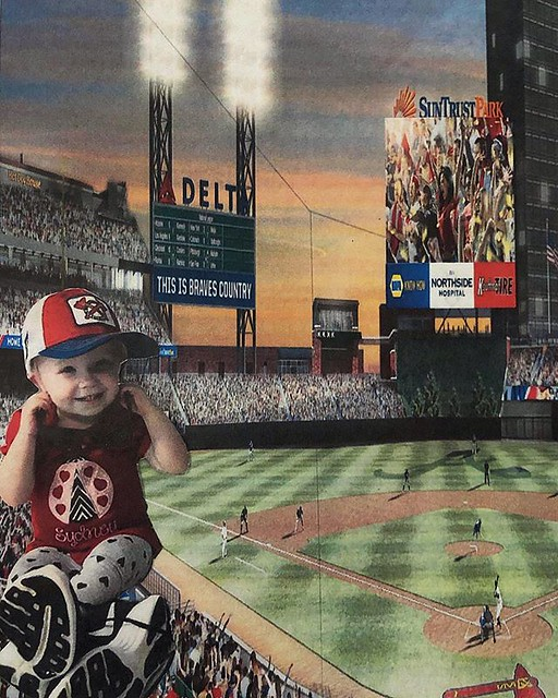 Got this beautiful #FathersDay framer from my little angel in my shoes & hat — hanging out watching a game at @suntrustpark 😂 Happy Father's Day to all of the dads out there! - - - #sydneyanne ... ... ... ... #stpete #chopon #iheartstpete #igersusa #i