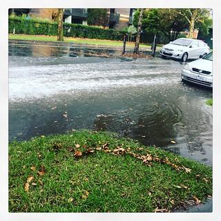 Depth of water caused by rainstorm