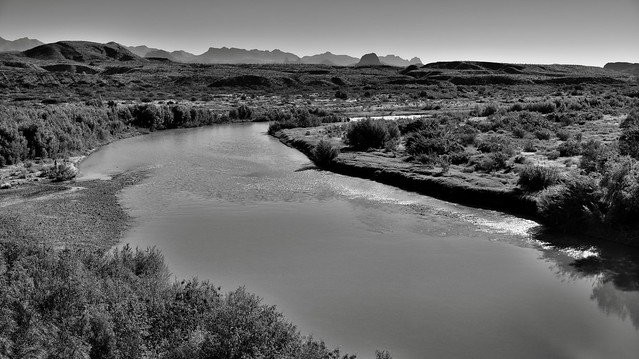 A Turn in the Rio Grande with a Big Bend Backdrop (Black & White, Big Bend National Park)