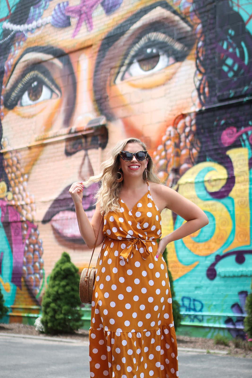 25 Polka Dot Dresses Under $25 That Will Make You Reach for your Wallet | Shein Ginger Polka Dot Ruffle Hem Belted Cami Dress | Coney Island Brooklyn New York Photo Ideas