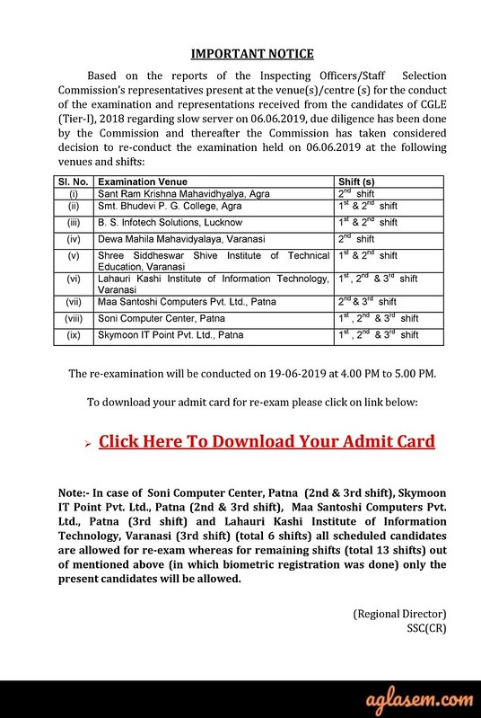 SSC CGL Admit Card 2019 (Released) - Download Tier 3 Hall Ticket