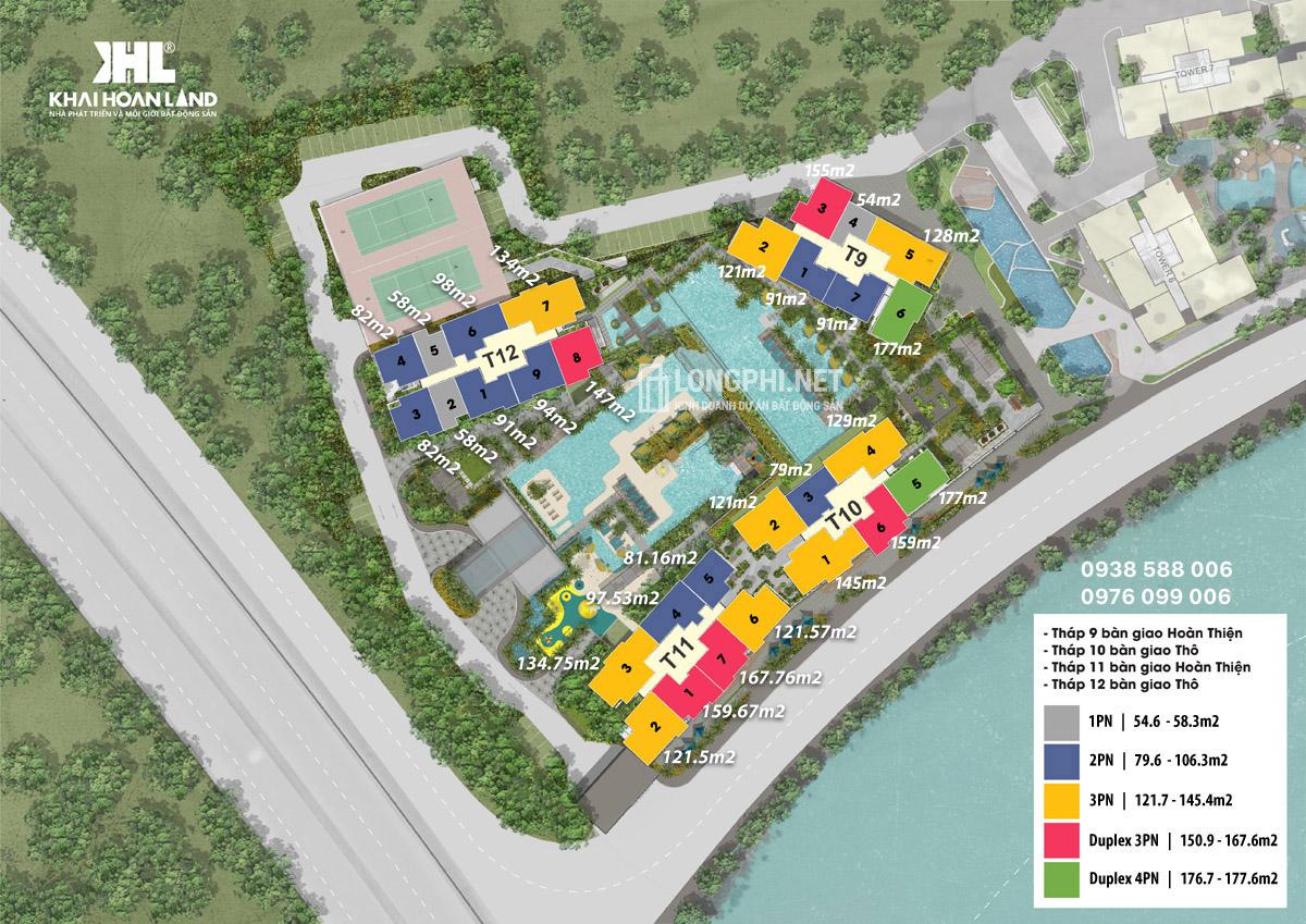 Mặt bằng chi tiết dự án căn hộ The Infiniti Riviera Point quận 7 của Keppel Land loại 1, 2, 3, 4 phòng ngủ và duplex thông tầng.