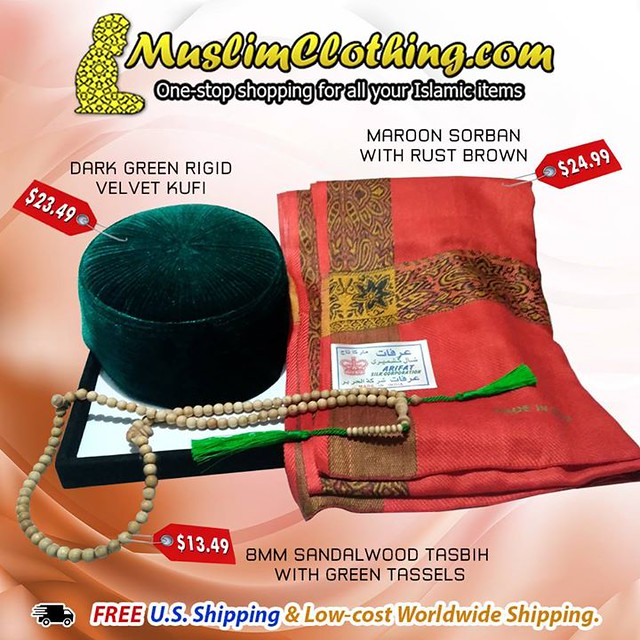 We offer a large selection of Islamic items including Rigid velvet Kufis, Men's Yemeni-style Sorban Scarves, and Muslim prayer beads