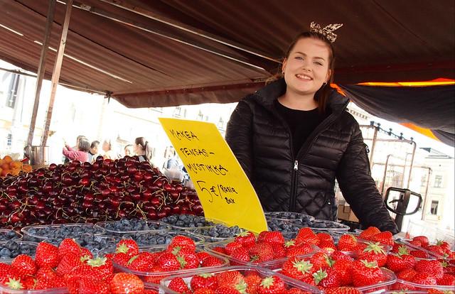 Girl selling fruit
