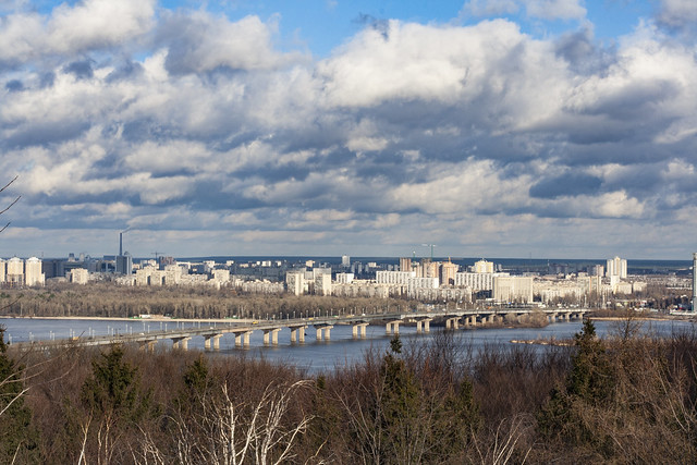View on the Paton Bridge, on the left bank of the Dnieper river. Kyiv. Ukraine.