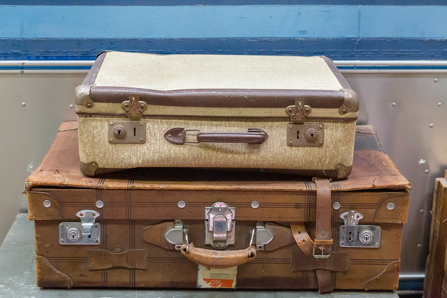 Two old retro style vintage suitcases made of brown leather