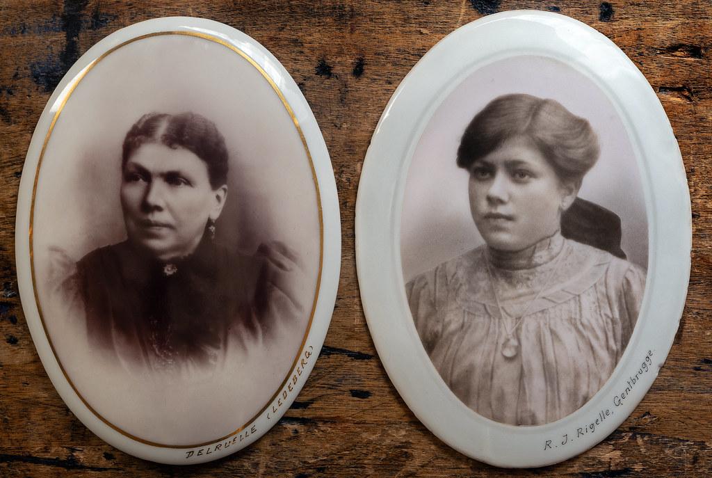 Porcelain tombstone photographs