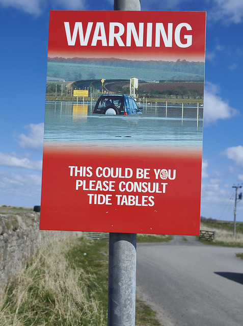 Road sign on Holy Island
