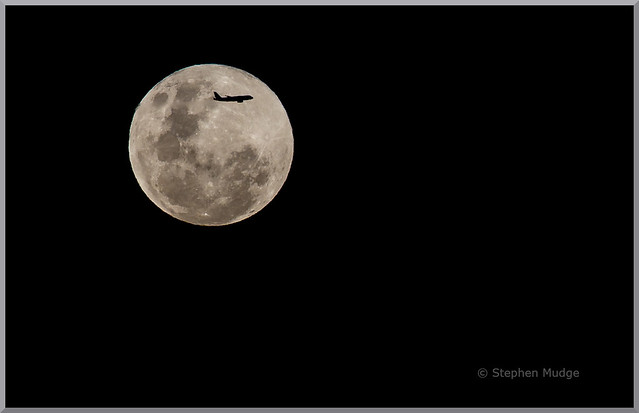 Airbus A320 crossing the Moon