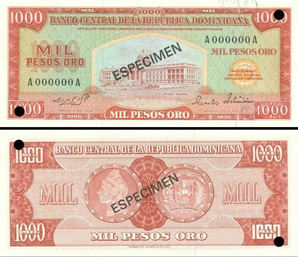 1000 Pesos Oro Dominikánska republika 1973-75 P106s