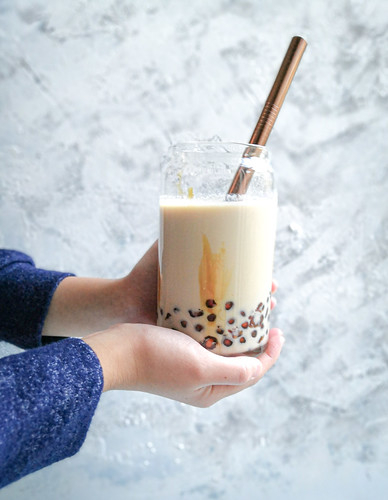 Brown sugar milk with boba pearls