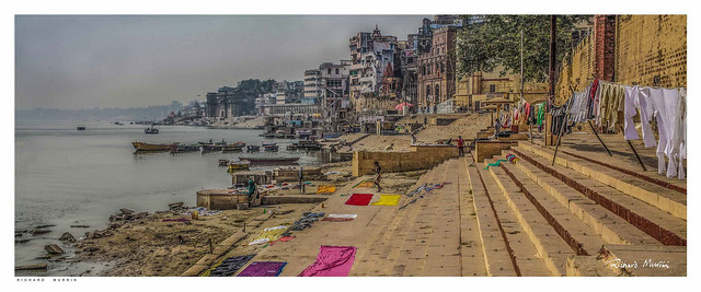 Laundry on the Ghats by the Ganges, Varanasi, India.