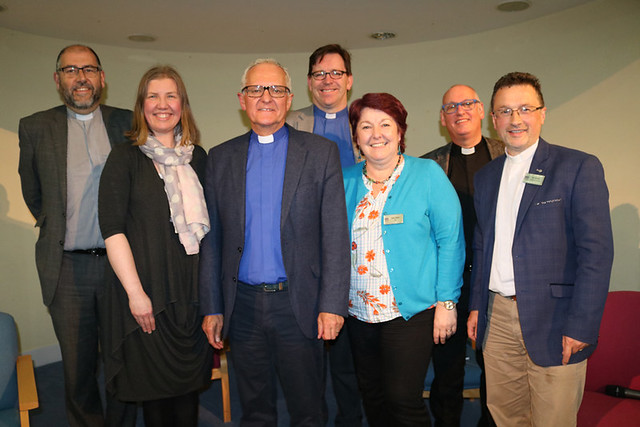 Archdeacon George Davison (Commissary); Rhonda Willoughby, Diocese of Meath and Kildare; Phil Potter, guest speaker; Andrew Forster, Diocese of Armagh; Sister Karen Webb, North Belfast Centre of Mission; Archdeacons Stephen McBride and Paul Dundas.