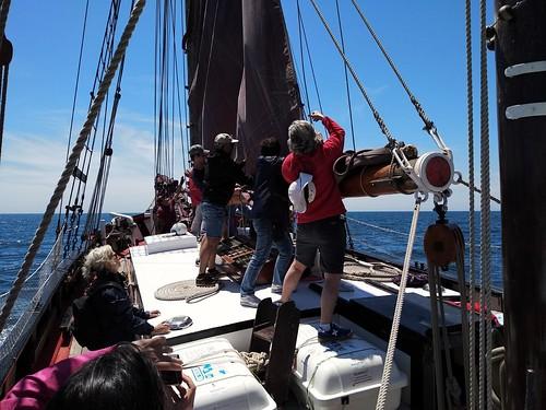 A bord del Quetx, arribant veles rumb a Torredembarra