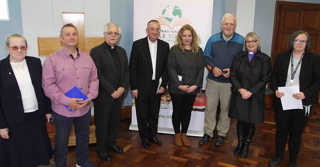 Sr E?ibhli?s NicUaithuas, the Revd Jools Hamilton, the Revd Ken Rue, Archbishop Diarmuid Martin, Julia McKinley, Kieran O'Mahony OSA, Bishop Pat Story and Patricia Carroll at Thinking Allowed during Ecumenical Bible Week.