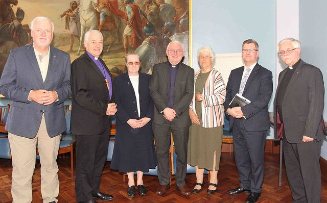 Symposium speakers the Revd Dr Patrick McGlinchey, Patricia Devlin and Sir Jeffrey Donaldson with symposium chair, Archbishop Michael Jackson and EBW committee members Fr Kieran O'Mahony OSA, Sr Éibhlís NicUaithuas and the Revd Ken Rue.