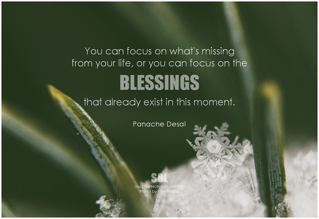 Panache Desai You can focus on what's missing from your li