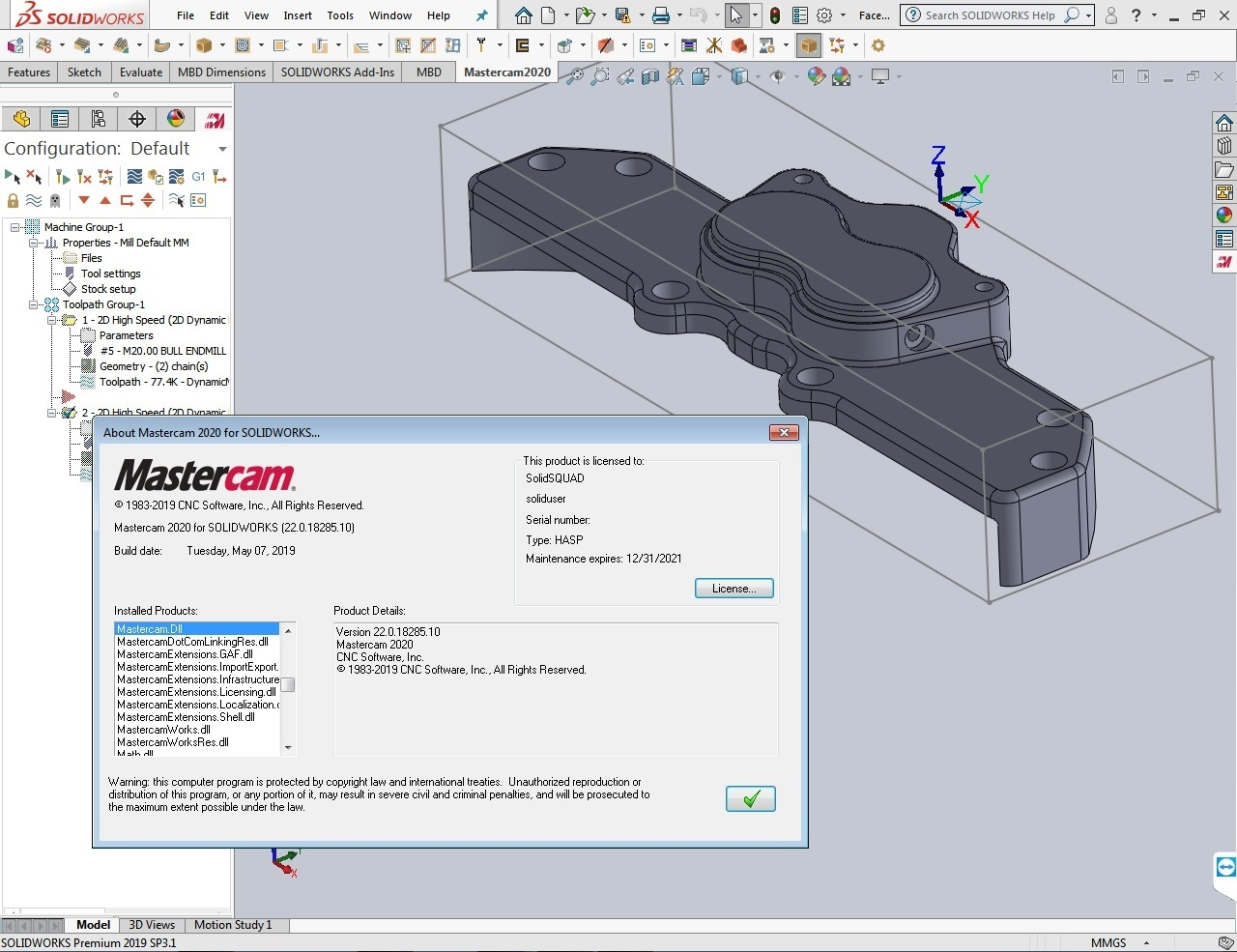 Download Mastercam 2020 for SolidWorks 2010-2019 Win64 full
