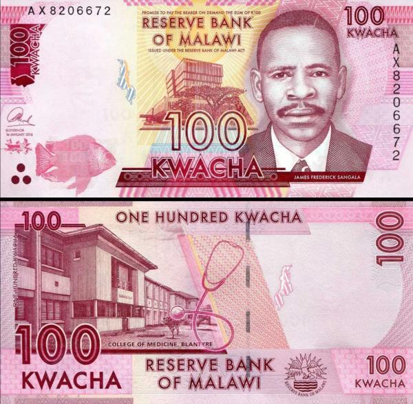 100 Kwacha Malawi 2016, P65b
