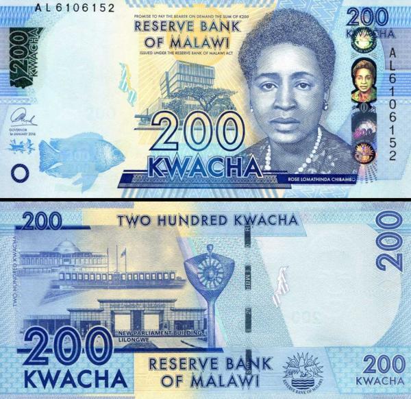 200 Kwacha Malawi 2016, P60c