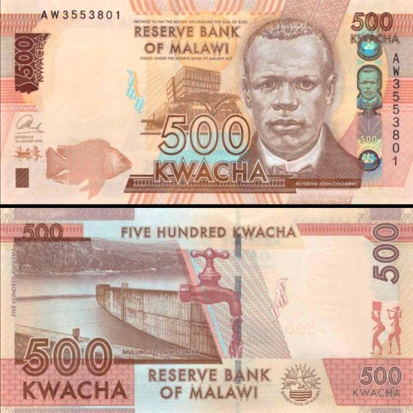 500 Kwacha Malawi 2016, P66a