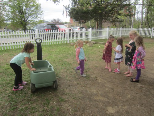 lined up for a turn in the wagon