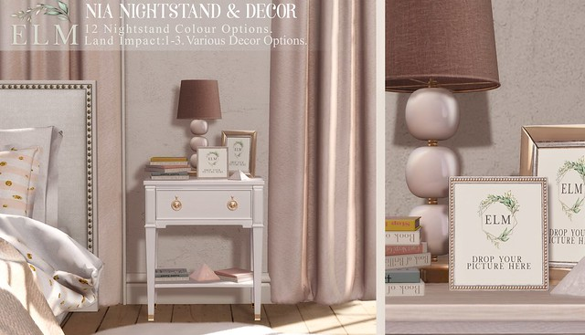 Elm. Nia Nightstand & Decor at Flourish!