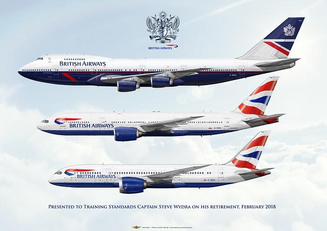 British Airways Captain Steve Wydra Retirement Art