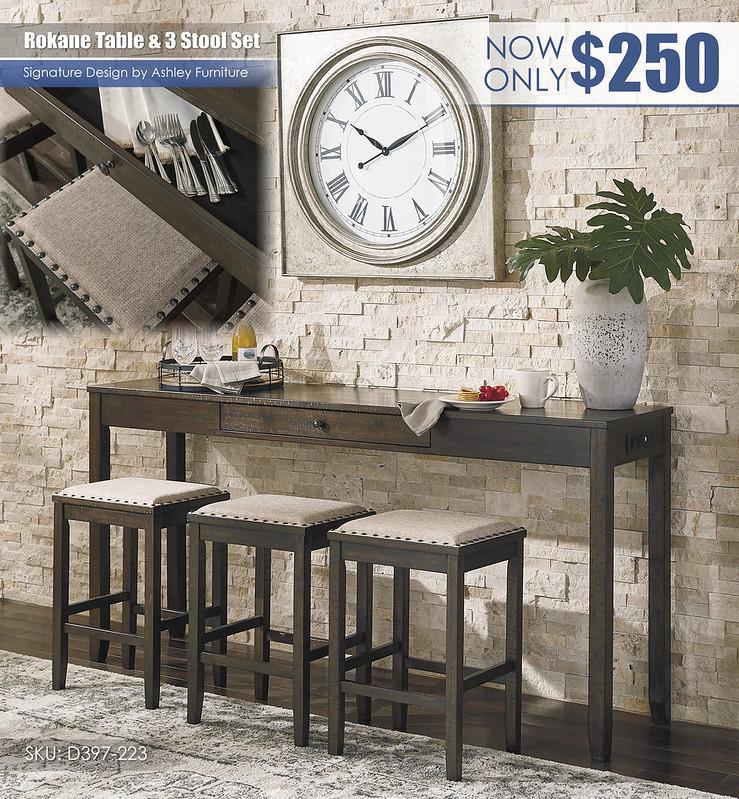 Rokane Table & 3 Stools_D397-223
